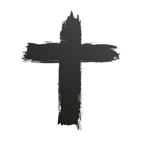 Hand drawn black grunge cross icon, simple Christian cross sign, hand-painted cross Çizim