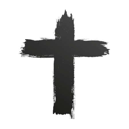 Hand drawn black grunge cross icon, simple Christian cross sign, hand-painted cross Illustration