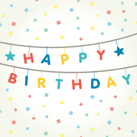 Garland that says happy birthday with multi-colored confetti. Vector illustration