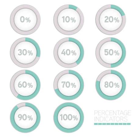Round progress bar circle vector image. Percentage indicators.