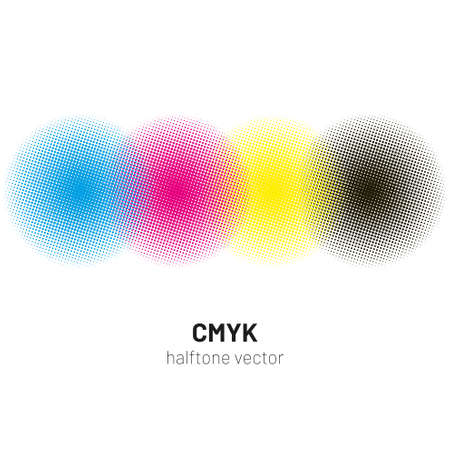 CMYK halftone rounds background vector Фото со стока - 103720225