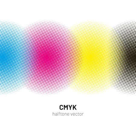 CMYK halftone rounds background vector
