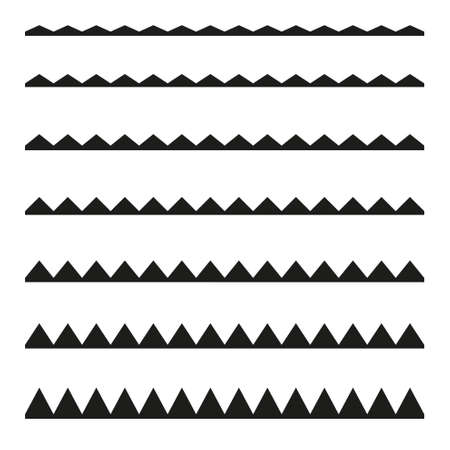 Set of seamless borders zigzag. Graphic design elements. Stock Illustratie