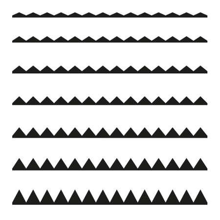 Set of seamless borders zigzag. Graphic design elements. Illustration