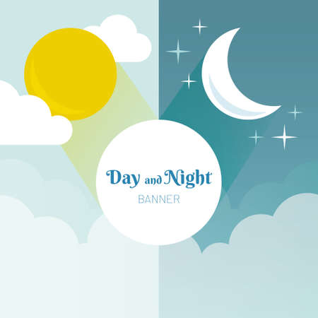 Day and Night layout. Sun, moon, stars and clouds banner. Weather background. Forecast concept banner. Daytime poster.