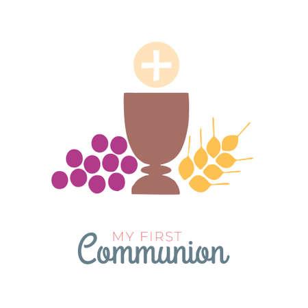 Simboli di prima comunione per un bel design di invito. Icone di contorno piatto Chiesa e comunità cristiana. Vettoriali