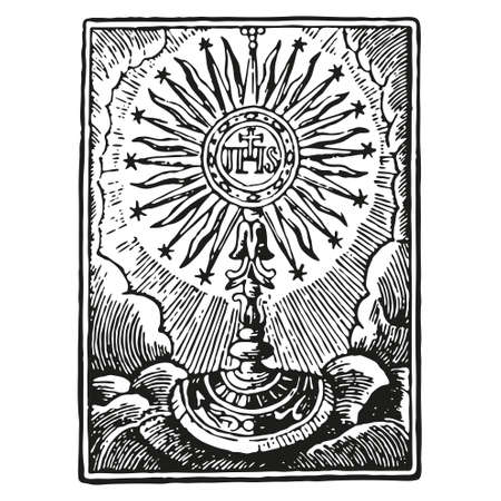 Illustration of a communion depicting traditional Christian symbols