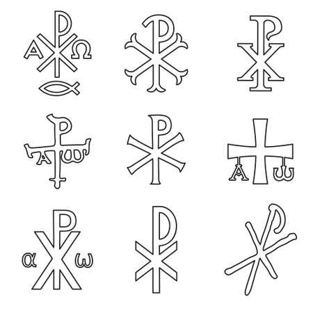 Christelijke symbolen pictogrammen instellen. Glanzende Chi Rho, Christogram, Chrismon, Labarum symbolen ingesteld. Stockfoto - 105407632