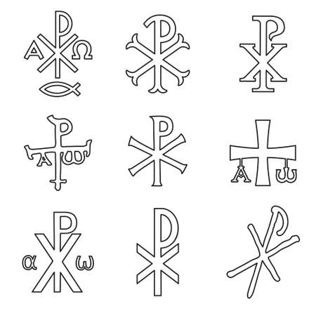 Christian symbols icons set. Glossy Chi Rho, Christogram, Chrismon, Labarum symbols set.