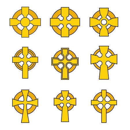 Set of Celtic crosses for religious design. Irish, scottish celtic cross sign collection.