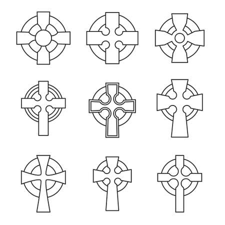 Set of Celtic crosses for religious design. Irish, scottish celtic cross sign collection. Archivio Fotografico - 105473486
