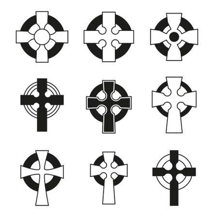 Set of Celtic crosses for religious design. Irish, scottish celtic cross sign collection.