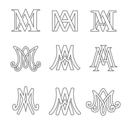 Monogram of Ave Maria symbols set. Religious catholic signs.