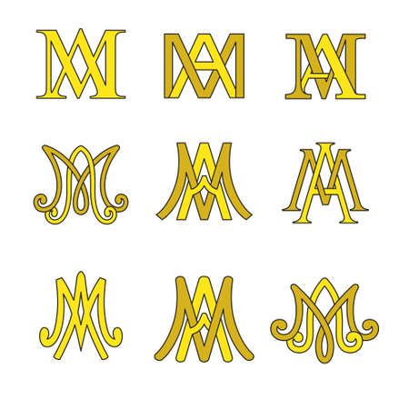 Monogram of Ave Maria symbols set. Religious catholic signs.