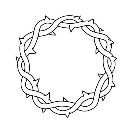 Corona di spine, simbolo religioso di Pasqua del cristianesimo illustrazione vettoriale.