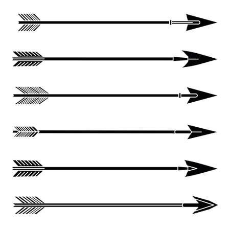 Conjunto de iconos de flechas. Hipster, tribal, indio, estilo medieval boho. Ilustración de vector