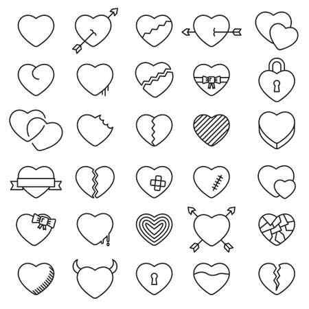 Set van 30 eenvoudige pictogrammen harten voor Valentijnsdag, webdesign, sites, applicaties, games, stickers…