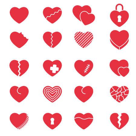 Conjunto de corazones de iconos simples para el día de San Valentín, diseño web, sitios, aplicaciones, juegos, pegatinas ...