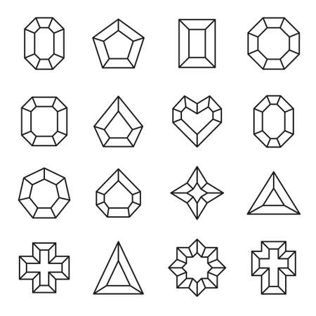 Vector set of line diamond icons and signs - luxury and premium symbols