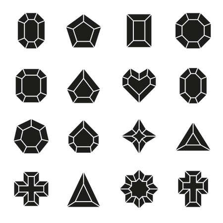 Wektor zestaw ikon i znaków diamentowych - symbole luksusu i premium