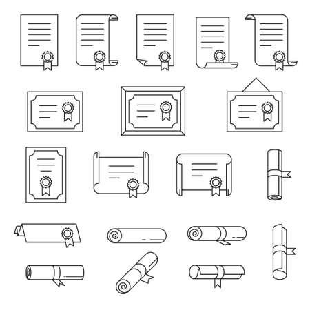 Conjunto de iconos de delgada línea de certificado.