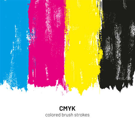 CMYK colored brush strokes vector illustration  イラスト・ベクター素材