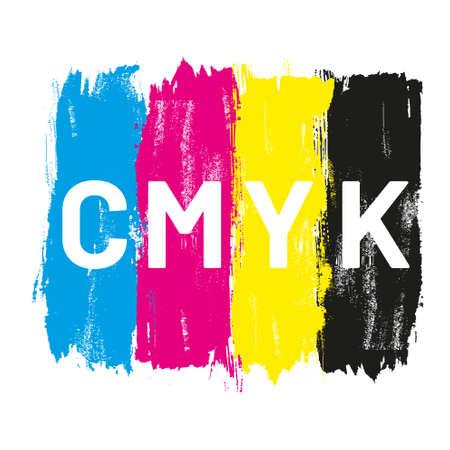 CMYK colored brush strokes vector illustration Vector Illustration