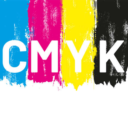 CMYK colored brush strokes vector illustration Stock Illustratie