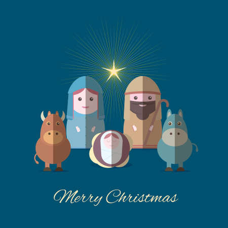 Merry Christmas banner with Nightly christmas scenery mary and joseph with baby Jesus vector design