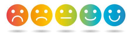 Ensemble d'icônes plates colorées Emoji. Icônes d'humeur triste et heureuse.