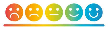 Ensemble d'icônes plates colorées Emoji. Icônes d'humeur triste et heureuse. Vecteurs