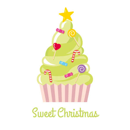Christmas tree made of sweets and candies vector illustration 일러스트
