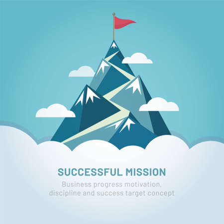 Flag on the mountain peak. Way to successful Business. Vector illustration Ilustrace