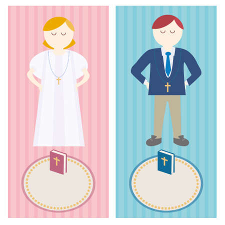 First communion is a nice invitation design. Church and Christian Community Flat illustration. Stock Illustratie