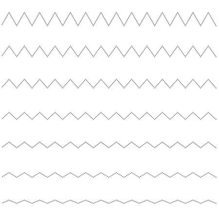 Set of seamless lines dots zigzag. Graphic design elements. 免版税图像 - 126235314