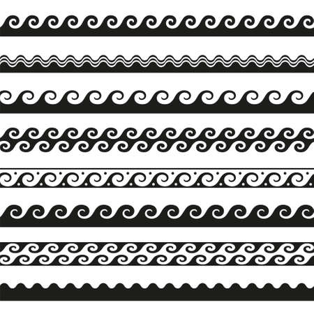 set of seamless wave borders. Vector design elements Illusztráció