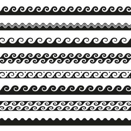 set of seamless wave borders. Vector design elements Illustration