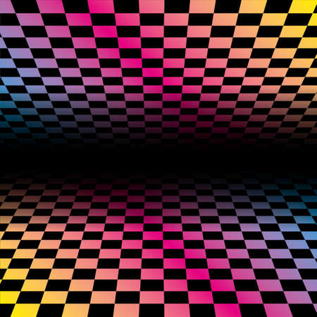 Colored grids background pattern. Rainbow colored tunnel ending in dark infinity. Geometric vector illustration