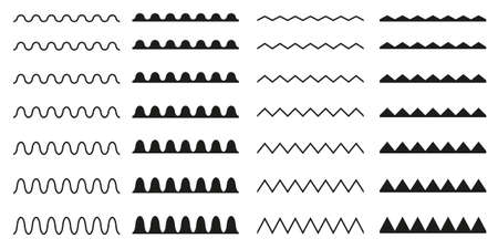 Set of seamless wavy, zigzag. Graphic design elements.