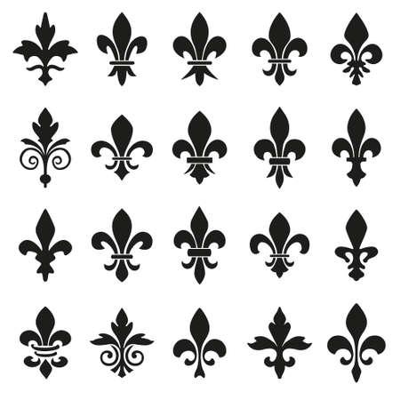 Ensemble d'emblèmes Symboles Fleur de Lys.