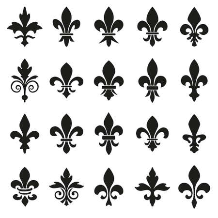 Set of emblems Fleur de Lys symbols. Illustration