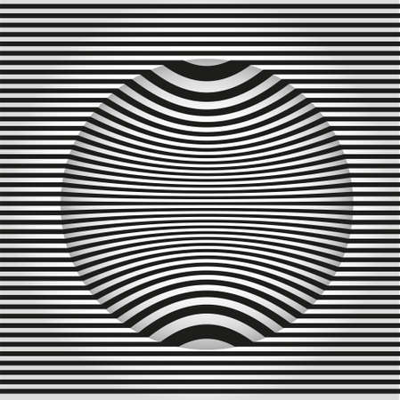 Images in the style Op art. Black and white background. Vector illustration  Ilustração