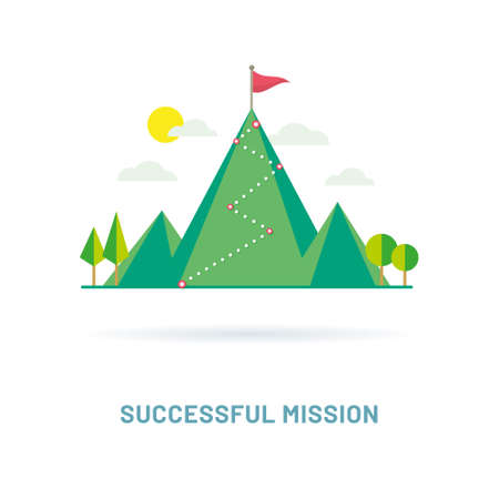 Flag on the mountain peak. Way to successful Business. Vector illustration Illustration