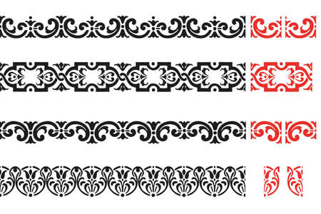 Set of decorative seamless ornamental border - Vector Illustration