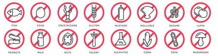 Iconos de alergia alimentaria. Conjunto de vectores de iconos de línea de dieta y alérgenos básicos. Aislado sobre fondo blanco