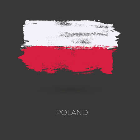 Poland colorful brush strokes painted national country flag icon. Painted texture.