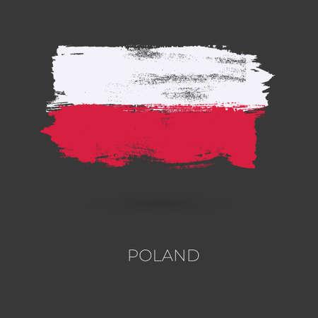 Trazos de pincel colorido de Polonia pintaron el icono de la bandera nacional del país. Textura pintada.