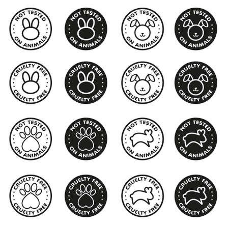 Okrucieństwo wolne - nie testowane na zwierzętach symbol ikony znaku - wektor zestaw