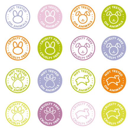 Cruelty free - not tested on animals sign icon symbol - Vector set Vektorové ilustrace