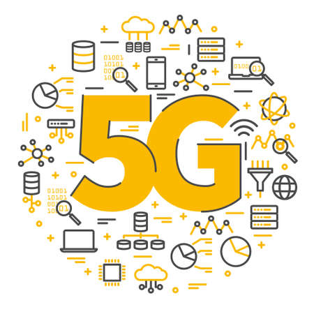 Ilustración de vector de logo de signo 5G. Iconos de red de tecnología. Ilustración símbolo de internet inalámbrico 5g en estilo minimalista plano y de línea. Logos